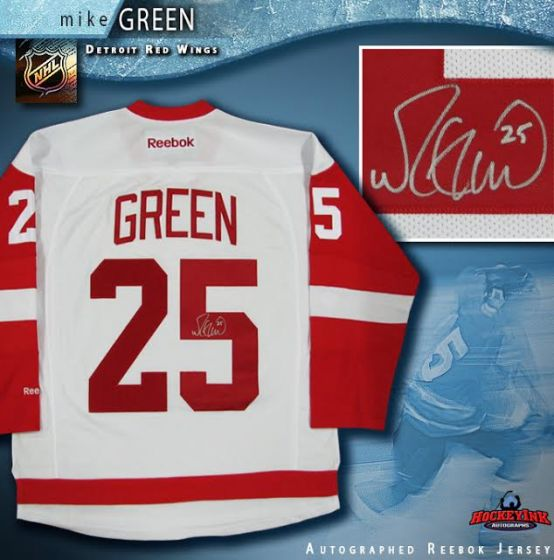 reputable site a5ae0 9a613 Mike Green Autographed Detroit Red Wings White Reebok Jersey