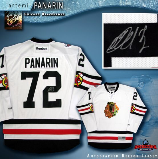 buy online 771fb be508 Artemi Panarin Autographed Chicago Blackhawks White Reebok Jersey