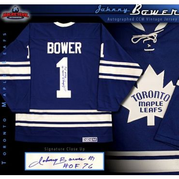 Johnny Bower Toronto Maple Leafs Autographed Blue CCM Vintage Jersey