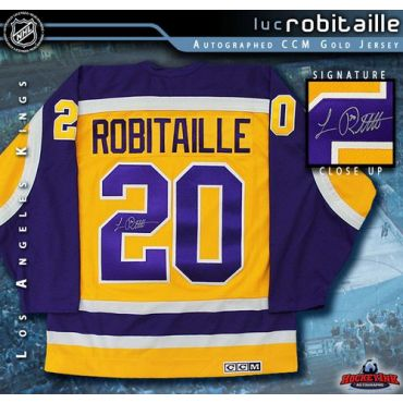 Luc Robitaille Los Angeles Kings Autographed Gold CCM Jersey