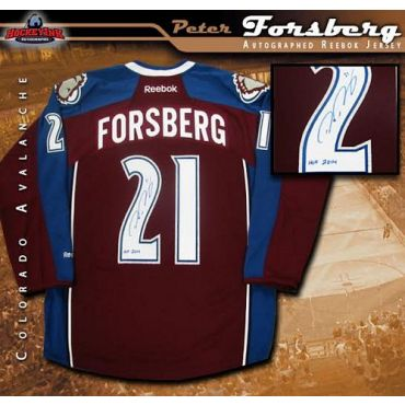 Peter Forsberg Colorado Avalanche Autographed Burgundy Reebok Jersey with Hall of Fame Inscription