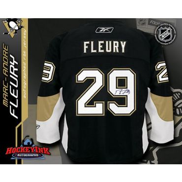 Marc-Andre Fleury Pittsburgh Penguins Autographed Black Reebok Premier Jersey