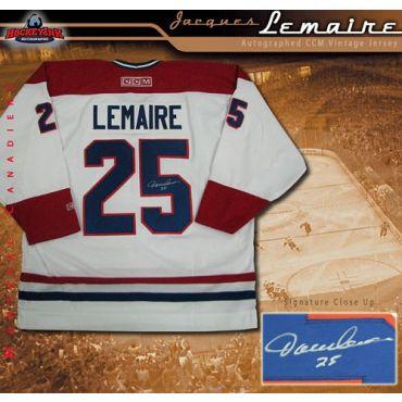 Jacques Lemaire Montreal Canadiens Autographed CCM Vintage White Jersey