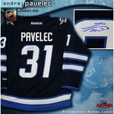 Ondrej Pavelec Winnipeg Jets Autographed Navy Reebok Jersey