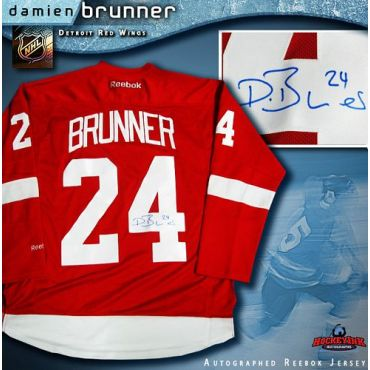 Damien Brunner Detroit Red Wings Autographed Red Reebok Jersey