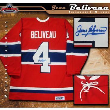 Jean Beliveau Montreal Canadiens Autographed Red Vintage CCM Jersey