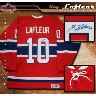 Guy Lafleur  Montreal Canadiens Autographed Red Vintage CCM Jersey