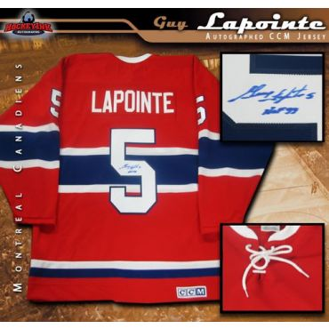 Guy Lapointe Montreal Canadiens Autographed Red Vintage CCM Jersey