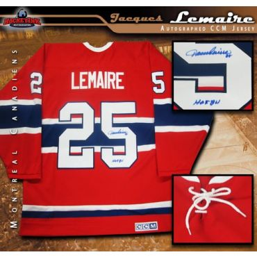 Jacques Lemaire Montreal Canadiens Autographed Red Vintage CCM Jersey