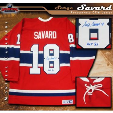 Serge Savard Montreal Canadiens Autographed Red Vintage CCM Jersey