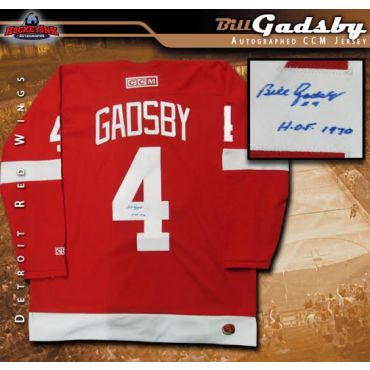 Bill Gadsby Detroit Red Wings Autographed and Inscribed Red CCM Jersey
