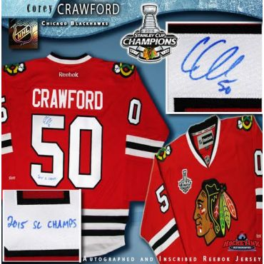Corey Crawford Chicago Blackhawks Autographed and Inscribed Red Reebok Jersey with 2015 Stanley Cup Patch