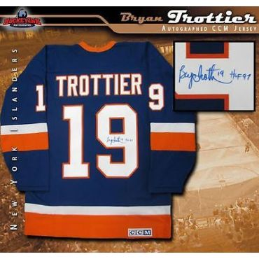 Bryan Trottier Autographed New York Islanders Blue CCM Jersey with HOF Inscription