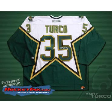 Marty Turco Dallas Stars Autographed White CCM Jersey