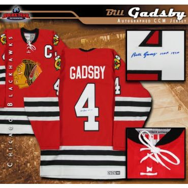 Bill Gadsby Autographed and Inscribed Chicago Blackhawks Vintage Red CCM Jersey
