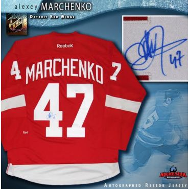 Alexey Marchenko Autographed Detroit Red Wings Red Reebok Jersey