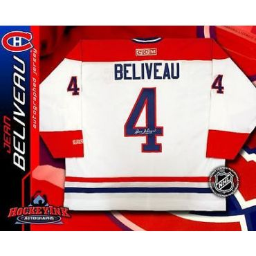 Jean Beliveau Autographed Montreal Canadiens White CCM Jersey
