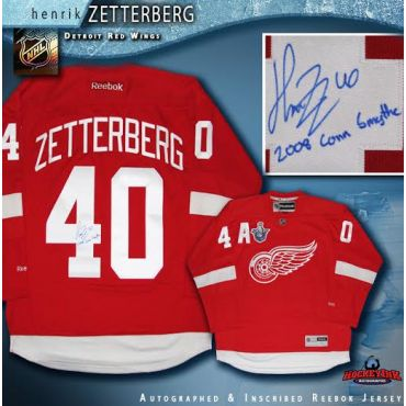 Henrik Zetterberg Autographed and Inscribed Detroit Red Wings Red reebok Jersey