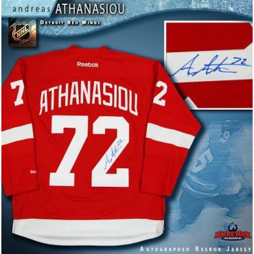 Andreas Athanasiou Autographed Detroit Red Wings Red Reebok Jersey