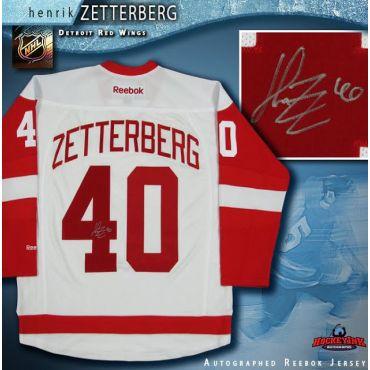Henrik Zetterberg Autographed Detroit Red Wings White Reebok Jersey