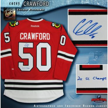 Corey Crawford Chicago Blackhawks Autographed Red Reebok Jersey Inscribed 2X SC Champs