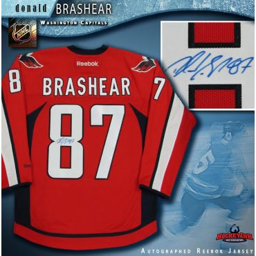 Donald Brashear Autographed Washington Capitals Red Reebok Jersey