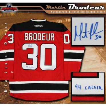 Martin Brodeur Autographed New Jersey Devils Reebok Jersey Inscribed 94 Calder