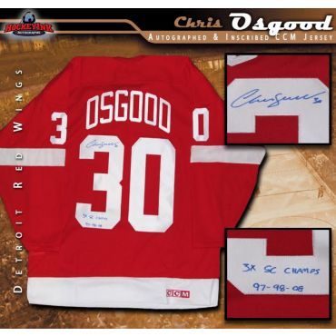 Chris Osgood Autographed Detroit Red Wings Red CCM Jersey Inscribed 3X SC Champs