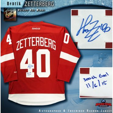 Henrik Zetterberg Autographed Detroit Red Wings Red Reebok Jersey with 300th Goal Inscription