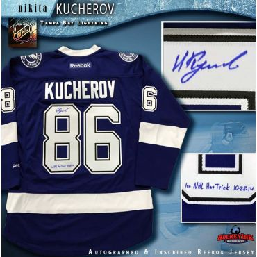 Nikita Kucherov Autographed Tampa Bay Lightning Blue Reebok Jersey with 1st NHL Hat Trick Inscription