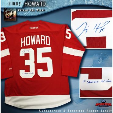 Jimmy Howard Autographed Detroit Red Wings Red Reebok Jersey with 1st Shutout Inscription