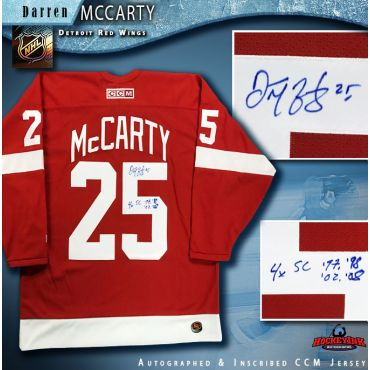 Darren McCarty Autographed Detroit Red Wings Red Reebok Jersey with 4x SC 98-98-02-08 Inscription