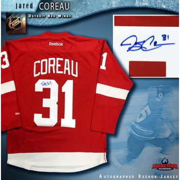 Jared Coreau Autographed Detroit Red Wings Red Reebok Jersey