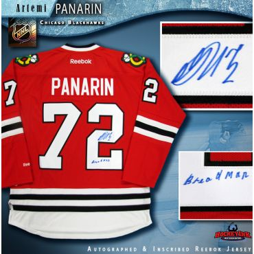Artemi Panarin Autographed Chicago Blackhawks Red Reebok Jersey with Breadman Inscription