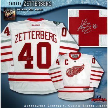 Henrik Zetterberg Autographed Detroit Red Wings Centennial Classic White Reebok Jersey