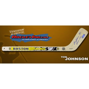 Tom Johnson Autographed Boston Bruins Mini-Stick