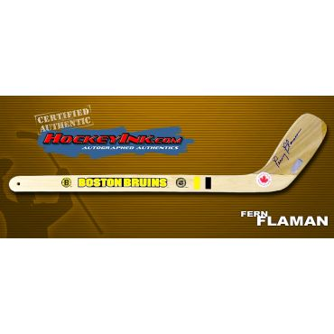 Fernie Flaman Autographed Boston Bruins Mini-Stick