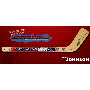 Tom Johnson Autographed Montreal Canadiens Mini-Stick