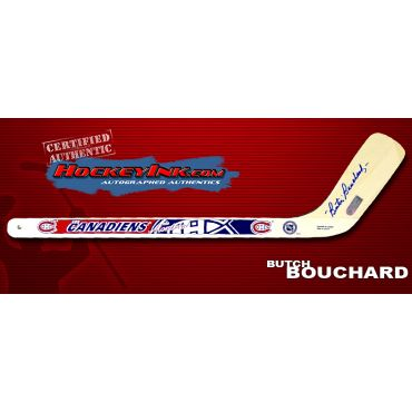 Emile Bouchard Autographed Montreal Canadiens Mini-Stick