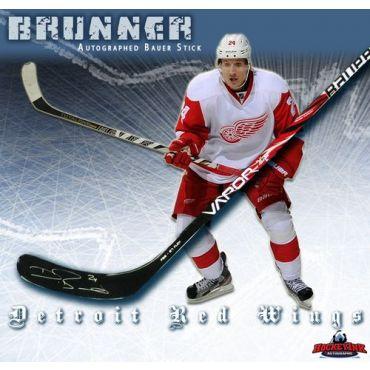 Damien Brunner Detroit Red Wings Autographed Bauer Model Stick