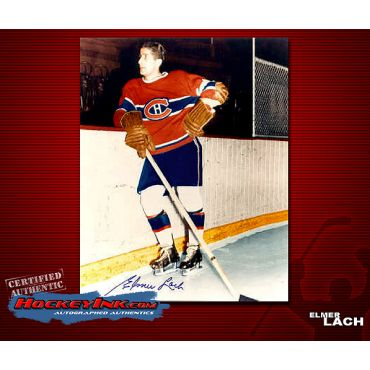 Elmer Lach Autographed Montreal Canadiens 8 x 10 Photo