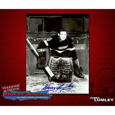 Harry Lumley Autographed Detroit Red Wings 8 x 10 Photo