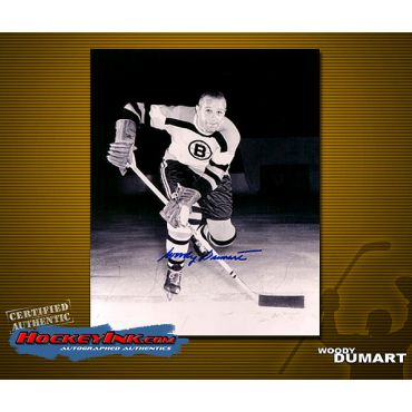 Woody Dumart Autographed Boston Bruins 8 x 10 Photo