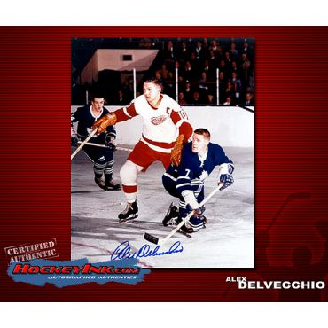 Alex Delvecchio  Autographed Detroit Red Wings 8 x 10 Photo