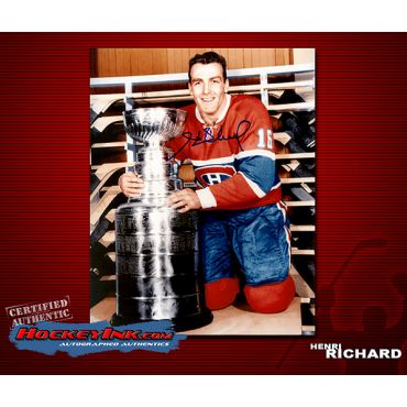 Henri Richard with cup  Montrela Canadiens Autographed 8 x 10 Photo