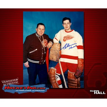 Glenn Hall Detroit Red Wings with Skinner  Autographed 8 x 10 Photo