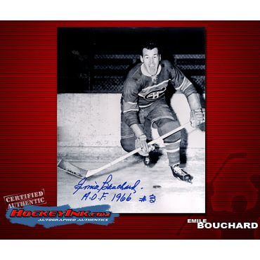 Emile Bouchard Montreal Canadiens Autographed 8 x 10 Photo