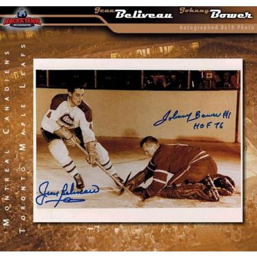 Jean Beliveau Montreal Canadiens and Johnny Bower Toronto Maple Leafs Autographed 8 x 10 Photo