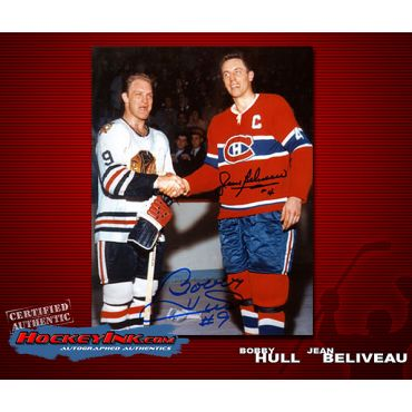 Bobby Hull and Jean Beliveau Shaking Hands  8 x 10 Autographed Photo
