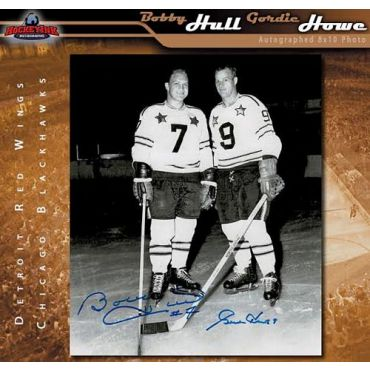 Gordie Howe Detroit Red Wings and Bobby Hull Chicago Blackhawks 8 x 10 Autographed Photo